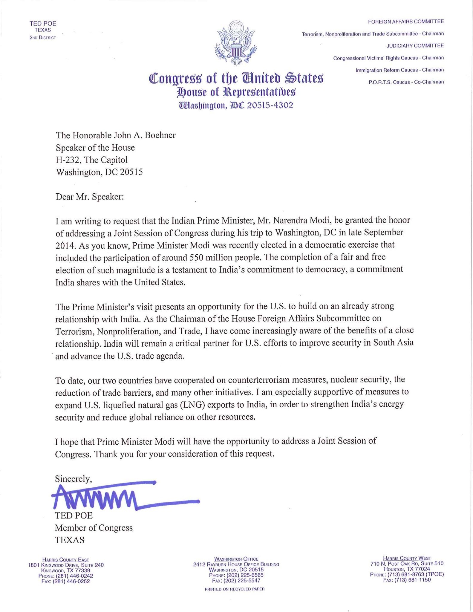 US Congressman Ted Poe letter to the House Speaker inviting Hon