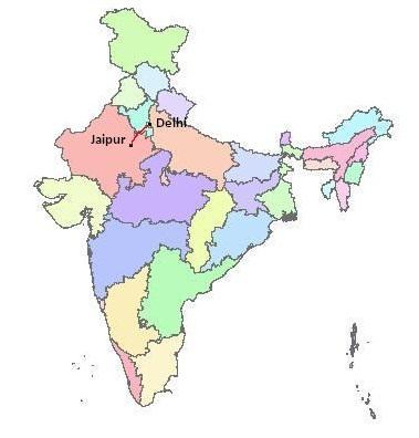 Jaipur-delhi route map